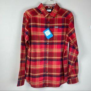 Columbia Flannel red tan blue sz small warm shirt